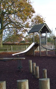 Play equipment is often located near mature trees